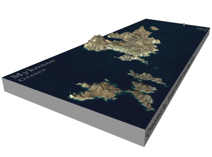 Mykonos Map, Greece 3d printed