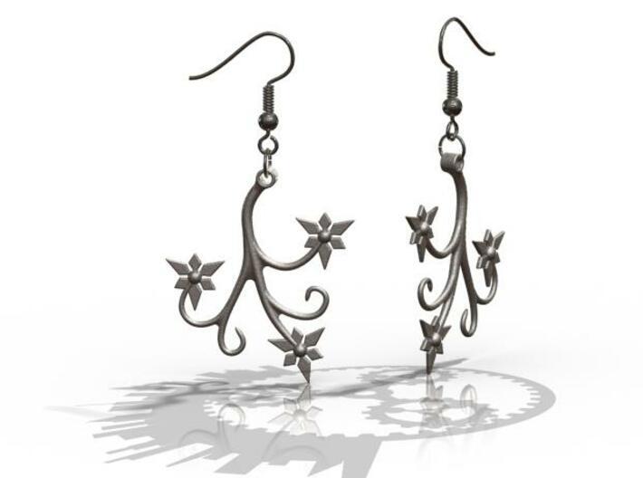Flora Earrings - FishHooks 3d printed Example Render