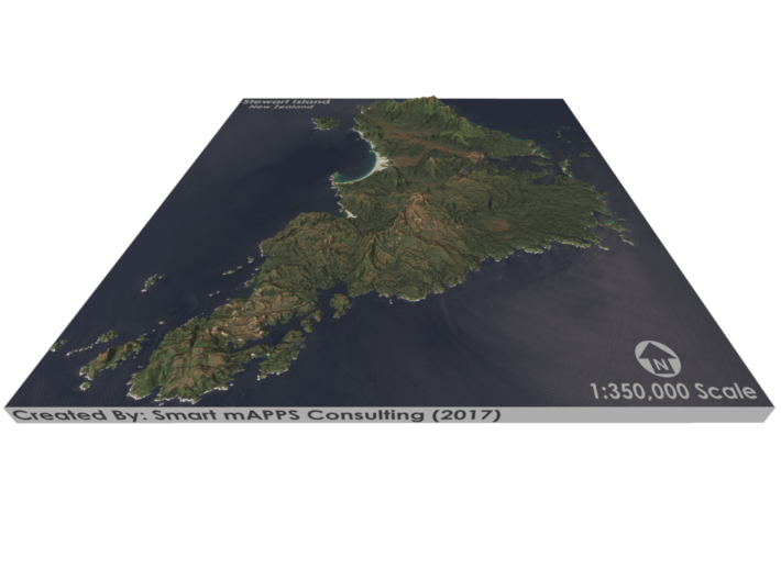 Stewart Island Map, New Zealand 3d printed