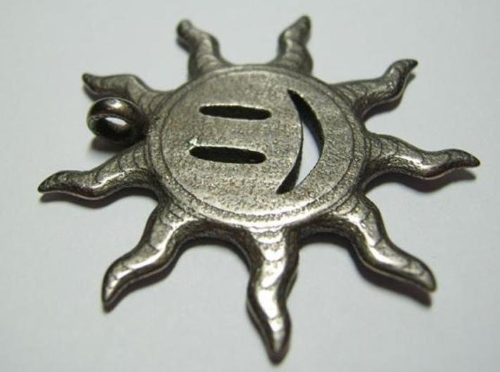 Smiling sun pendant 3d printed Face 2