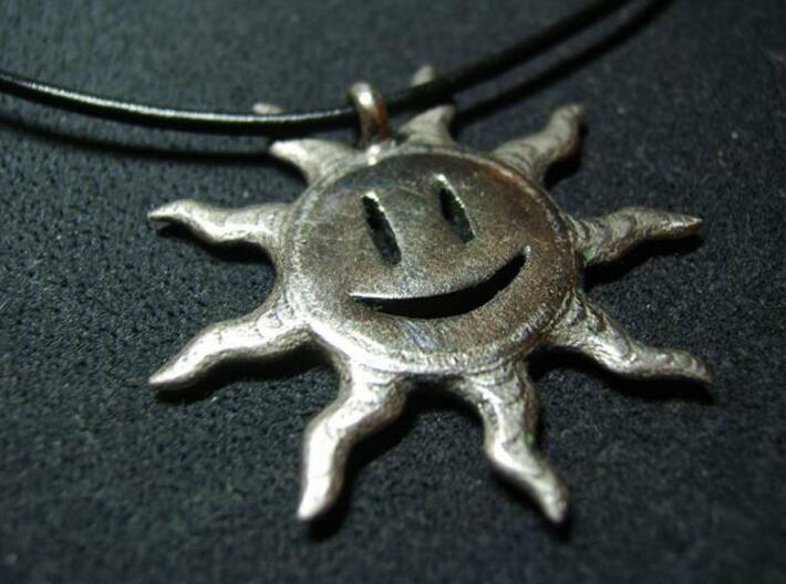 Smiling sun pendant 3d printed Custom polish 2
