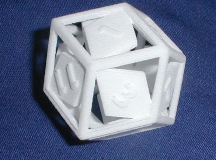 Open Rhombic d12 3d printed Printed in White Strong & Flexible