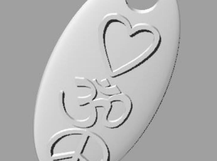 Ohm Love Peace Pendant 3d printed Render 1