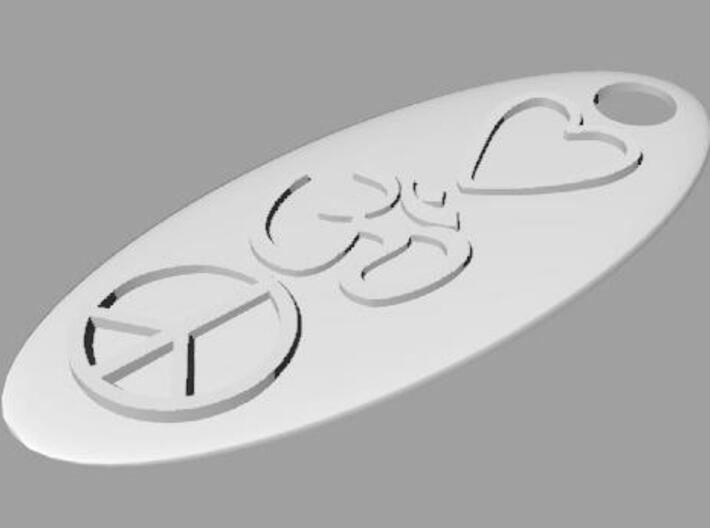 Ohm Love Peace Pendant 3d printed Render 2