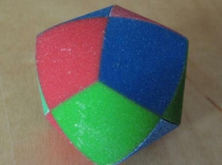 Color Pillowhedron 4cm 3d printed Assembled puzzle (view 3)