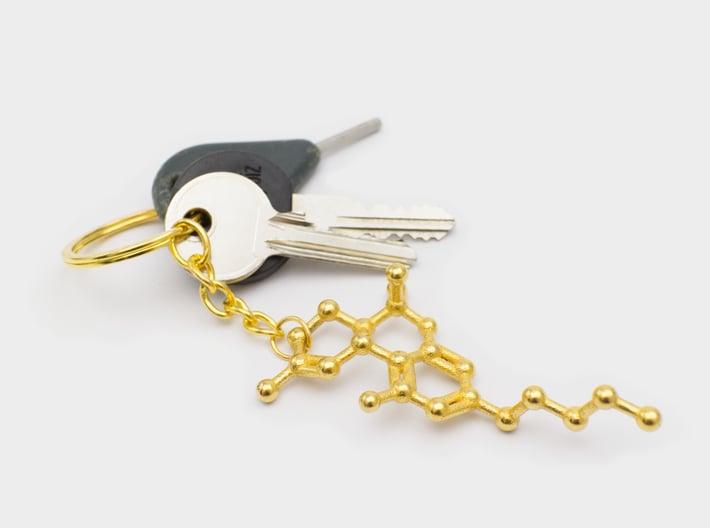 THC Molecule Keychain / Model 3d printed THC molecule keychain gold steel
