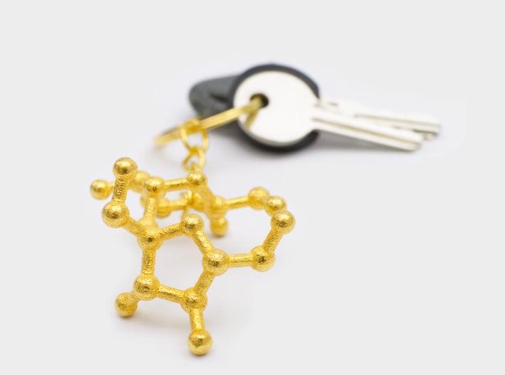 Sucrose (Sugar) Molecule Keychain 3d printed Sucrose molecule key chain gold