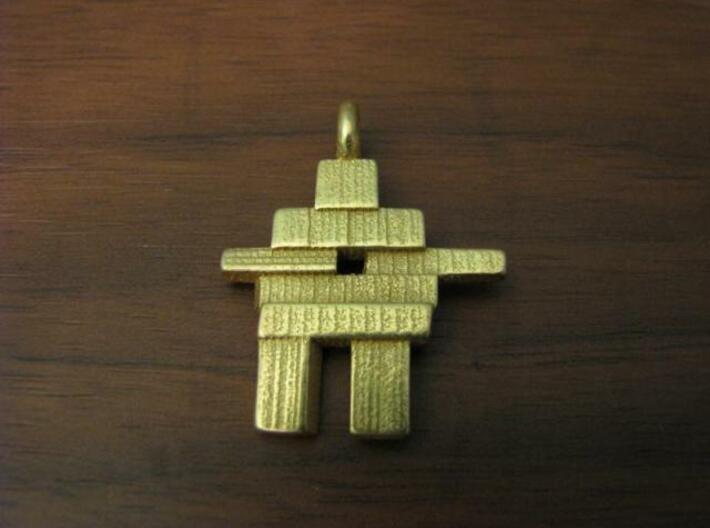 Inukshuk Pendant 3d printed Gold Plated Glossy Inukshuk Pendant