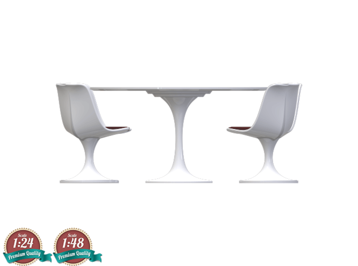 Miniature Tulip Table & 4 Chairs - Eero Saarinen 3d printed Miniature Tulip Table & 4 Chairs - Eero Saarinen