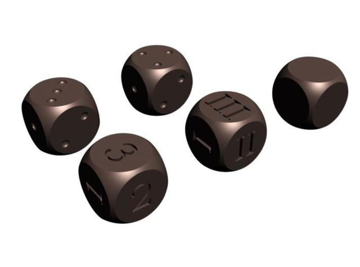 All Round D6 Dice 3d printed CG Rendering