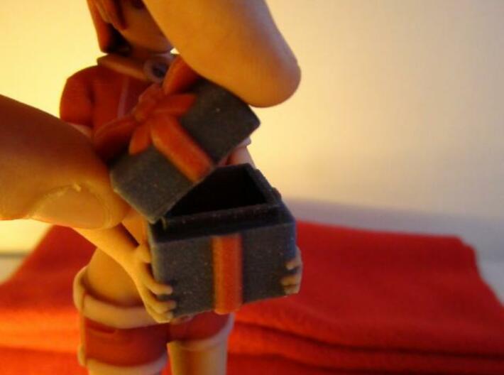 """""""Santa Girl"""" Figure (Full Color) 3d printed Present Box Opened"""