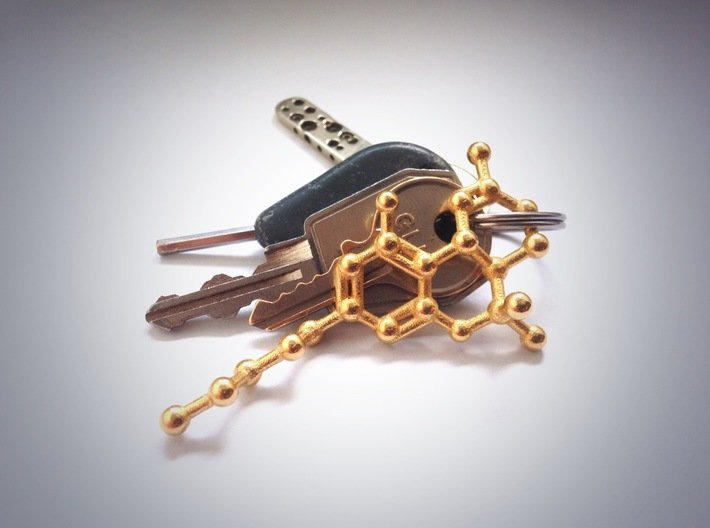 THC Molecule Keychain / Model 3d printed THC molecule keychain in Polished Gold Steel