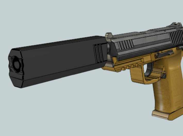 Hexa Silencer (139.5mm Long) (14mm Self-Cutting Th 3d printed