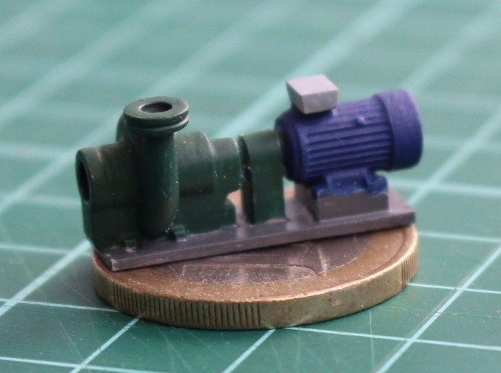Centrifugal Pump #2 (Size 3) 3d printed Painted pump on €1 coin.