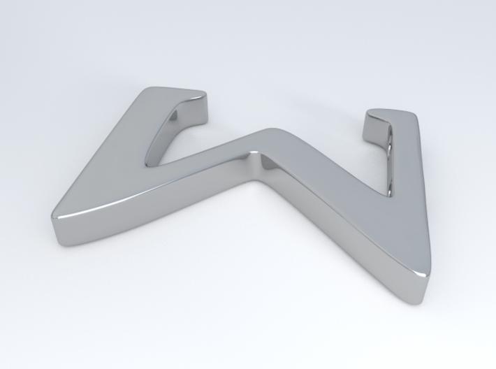 Sigma 3d printed Sigma rotated. Sigma in Silver.
