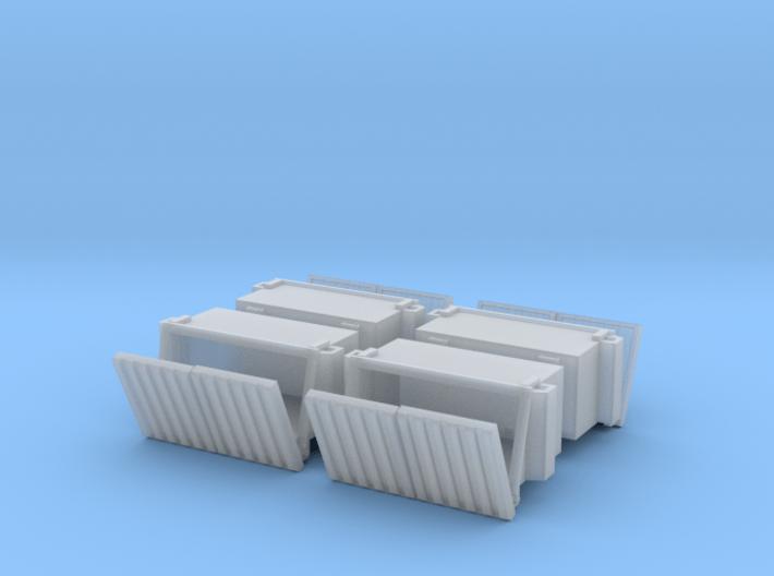 2 Yard Slant Dumpster 4 Pack 1-87 HO Scale 3d printed
