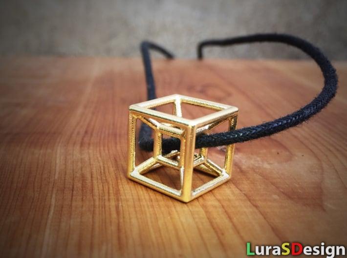 The Hypercube 3d printed Raw Brass