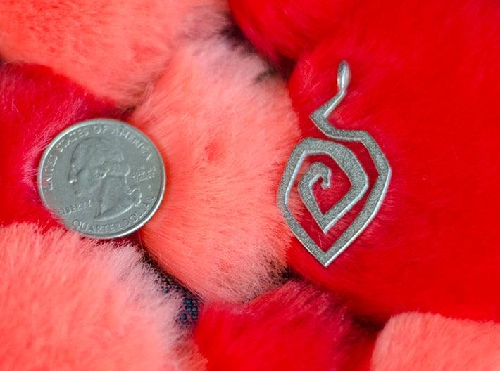 Fire swirl pendant 3d printed size comparison