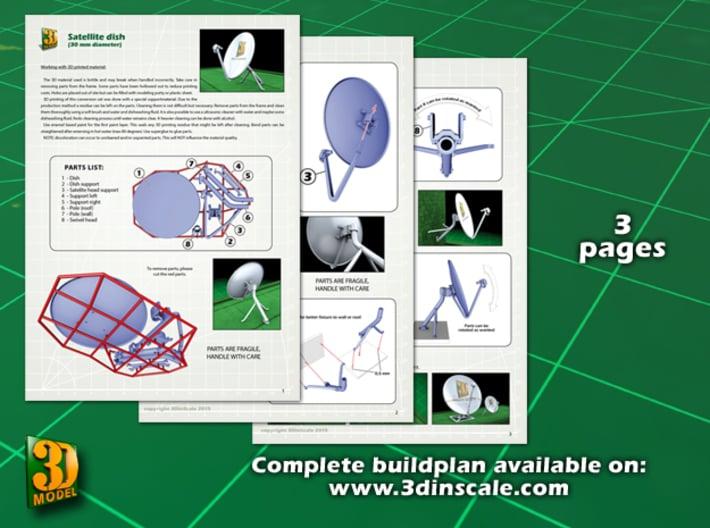 Satellite dish (30+60mm) - set 3d printed Satellite dish set (2x30mm+60mm) - 30mm - instruction sheet