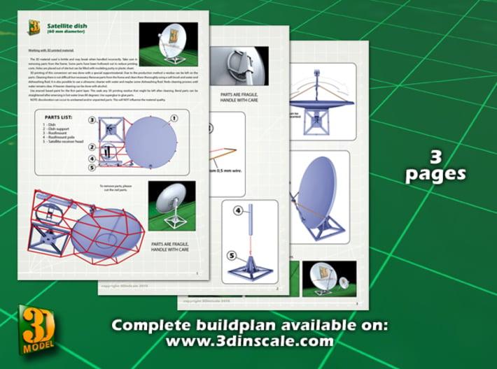 Satellite dish (30+60mm) - set 3d printed Satellite dish set (2x30mm+60mm) - 60mm - instruction sheet