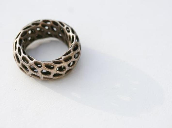 Trous Ring 3d printed Stainless Steel