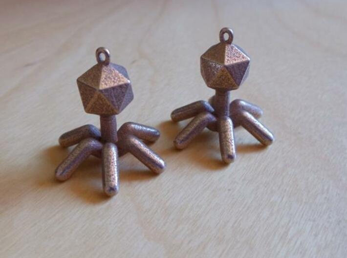 T4 Phage Earings 3d printed In Stainless Steel