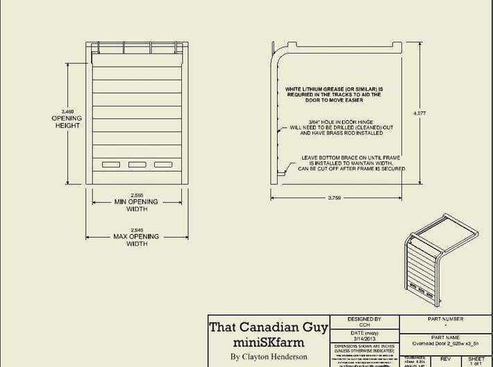1/64 Overhead Door 14' W x 18.5' H (2_625w x 3_5h) 3d printed