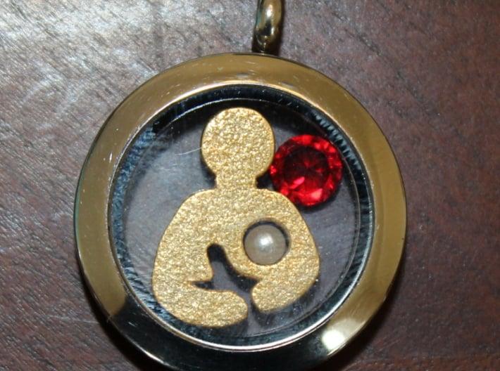 Breastfeeding Charm (Origami Owl) 3d printed Breastfeeding Charm in Polished Gold Steel
