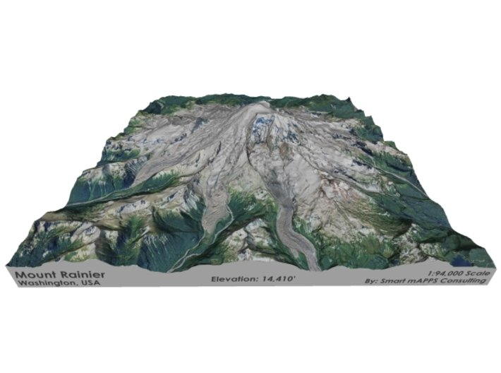 "Mount Rainier Map: 8""x8"" 3d printed"