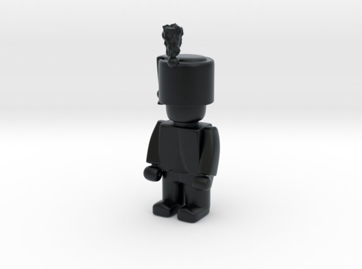 Hussar Shako w Plume  3d printed Example figurine wearing the helmet in black Hi-Def Acrylate