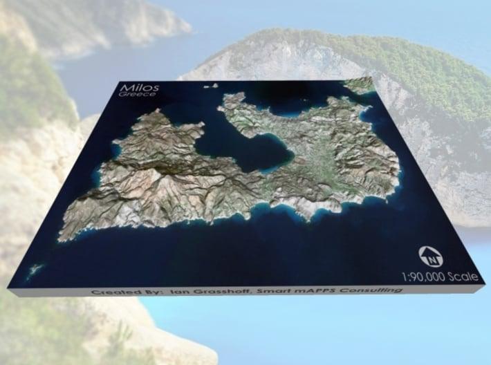 "Milos/Melos, Greece Map: 8""x10"" 3d printed"