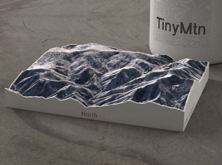 Powder Mountain, Utah, USA, 1:50000 3d printed