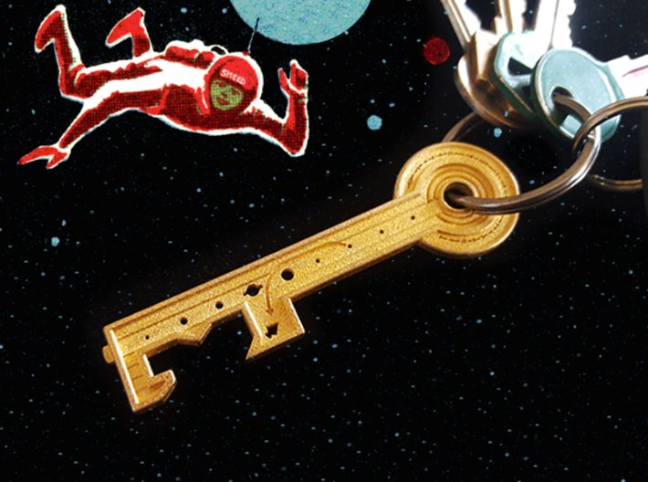 Key To The Stars 3d printed Key shown attached to keychain for scale