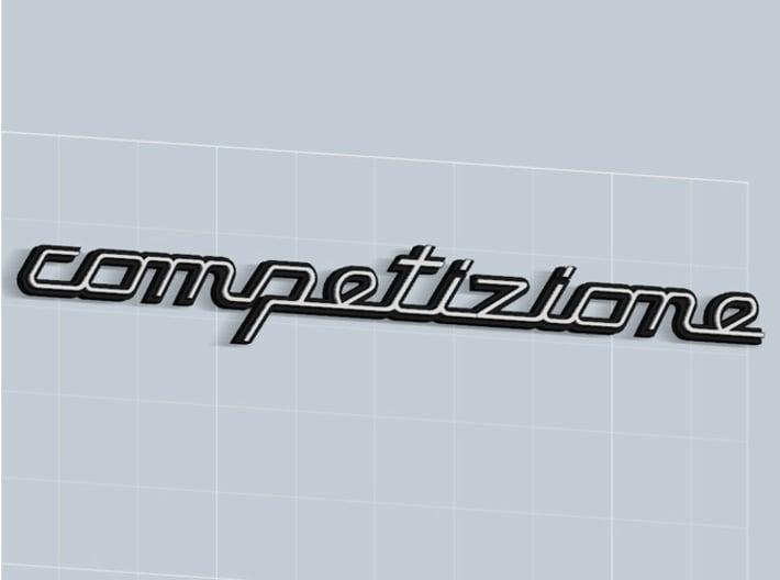 COMPETIZIONE BADGE 3d printed Competizione badge in Matte Black Steel, with white plastic inserts -sold apart-, render.