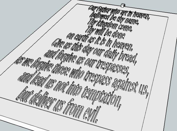 Lord's Prayer Cross Pendant 3d printed Back as a 3D model