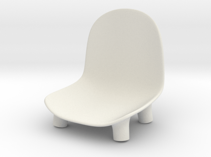1:12 Chair v1 wooden legs 1 3d printed Stoel v1 houten poten 1 - wit