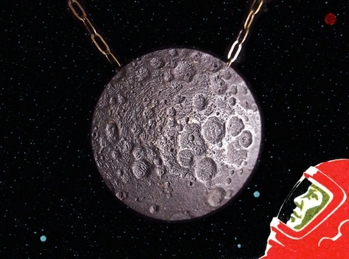 Far Side of the Moon Pendant 3d printed Moon Pendant in Polished Grey Steel