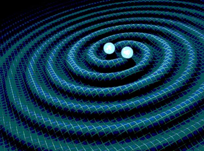 Two Black Holes Teardrop Pendant 3d printed Rendering of gravitational waves from 2 merging black holes