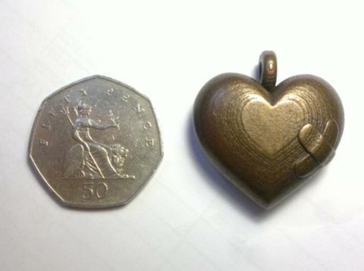 Wounded Heart Pendant 3d printed Antique Bronze Matte
