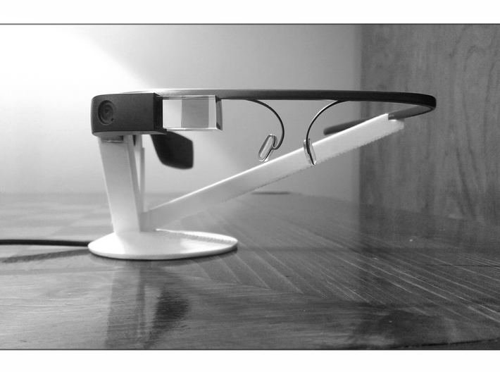 Google Glass Charging Stand 3d printed Additional arm to support heavy frames