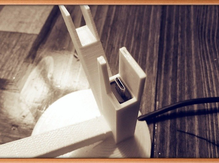 Google Glass Charging Stand 3d printed Channel holds 6.5 x 11.8 mm charging plug