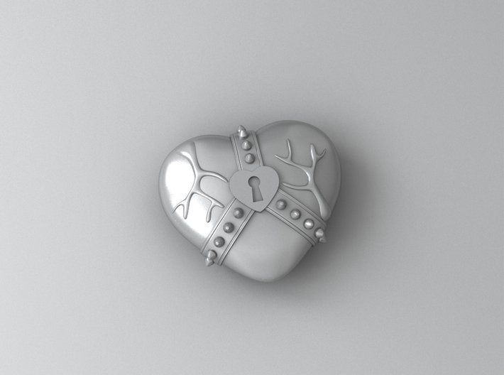 Studded Strap Heart Pendant 3d printed Metallic