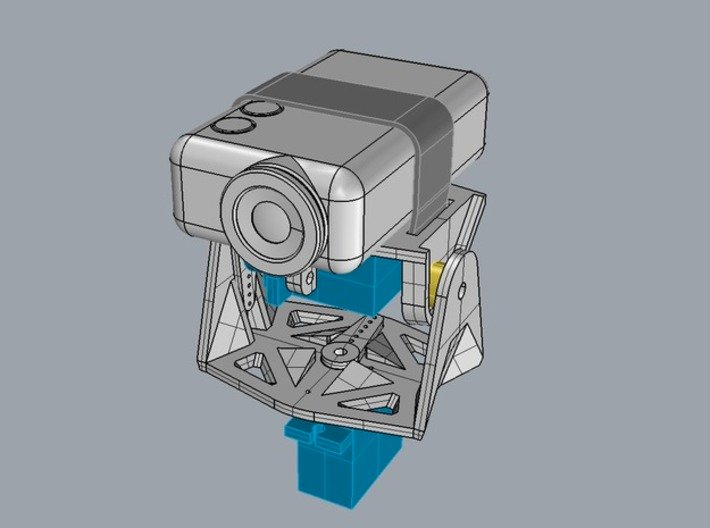UAVMaker Mobius Gimbal for HXT900 Servo 3d printed The yellow part is a thrust bearing