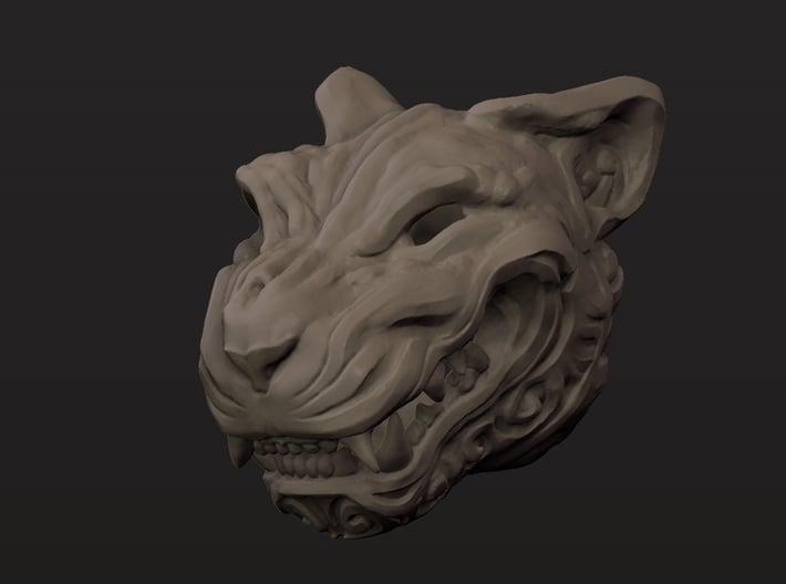 Oni-Tiger Miniature Decorative Noh Mask 3d printed 2/3 Profile Clay Render