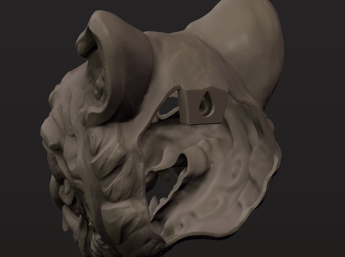 Oni-Tiger Miniature Decorative Noh Mask 3d printed Rear Clay Render of Large Mask Showing Open Back
