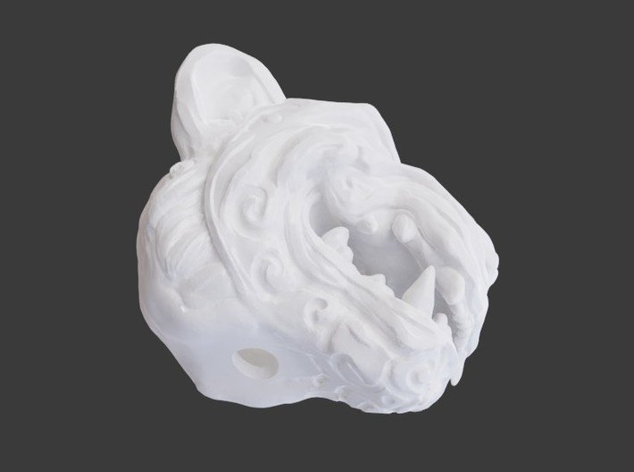 Oni-Tiger Miniature Decorative Noh Mask 3d printed Render Showing an Example of the Exit Hole on Medium Sized Print