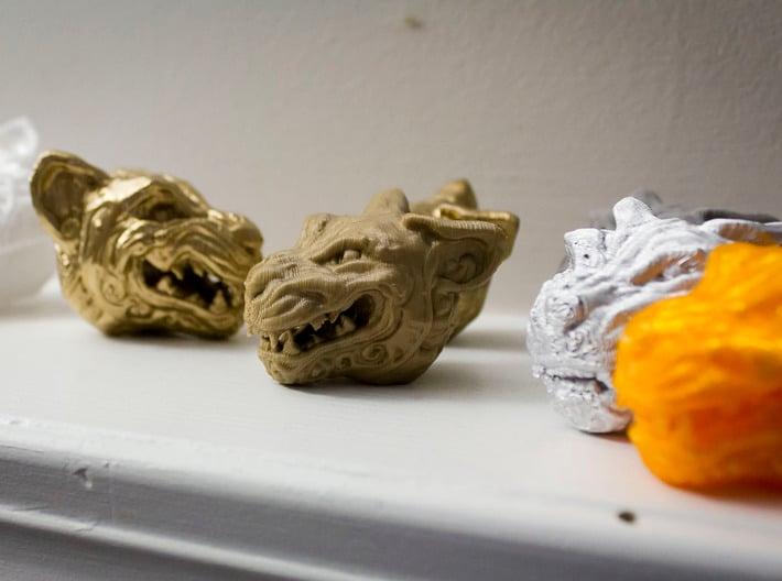 Oni-Tiger Miniature Decorative Noh Mask 3d printed PLA and PETG prints on Prusia Clone, center print shows detail of metallic PLA.