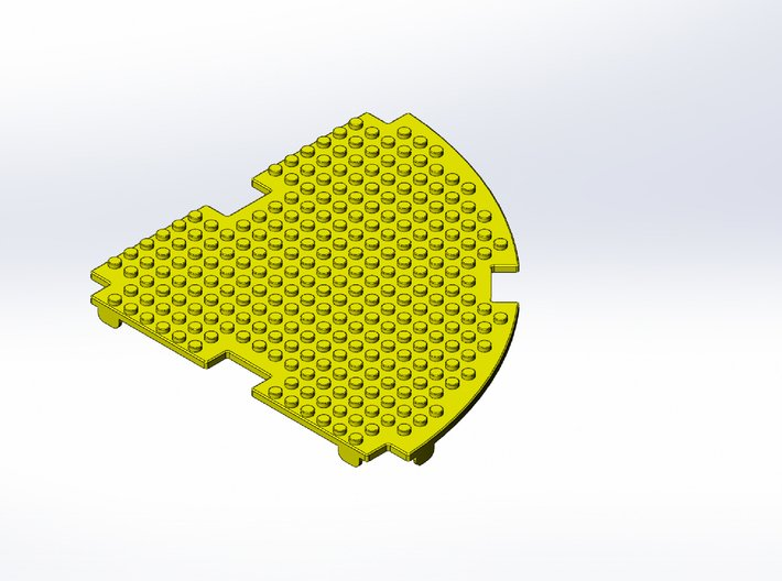 Rokenbok Curved Deck Plate, Studs 3d printed