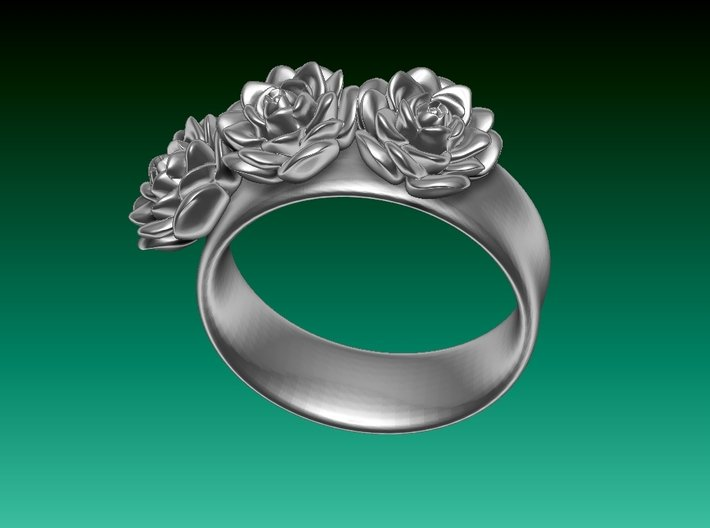 Tiny 3 Rose ring (plastic print only - no silver) 3d printed