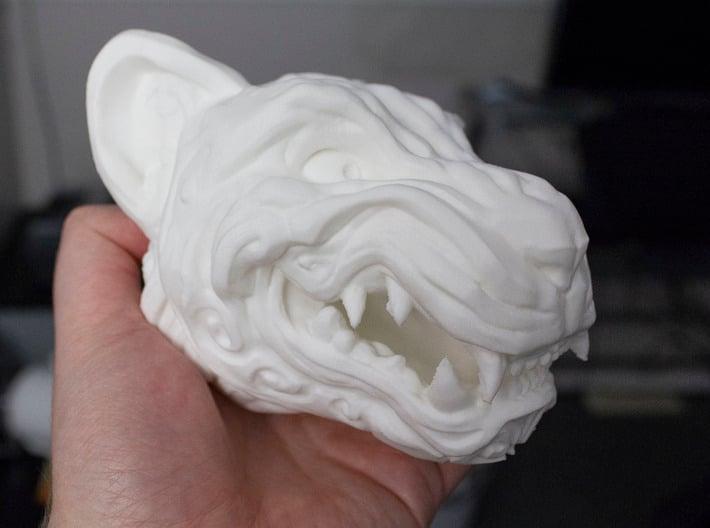 Oni-Tiger Miniature Decorative Noh Mask 3d printed Large home printed PLA model.